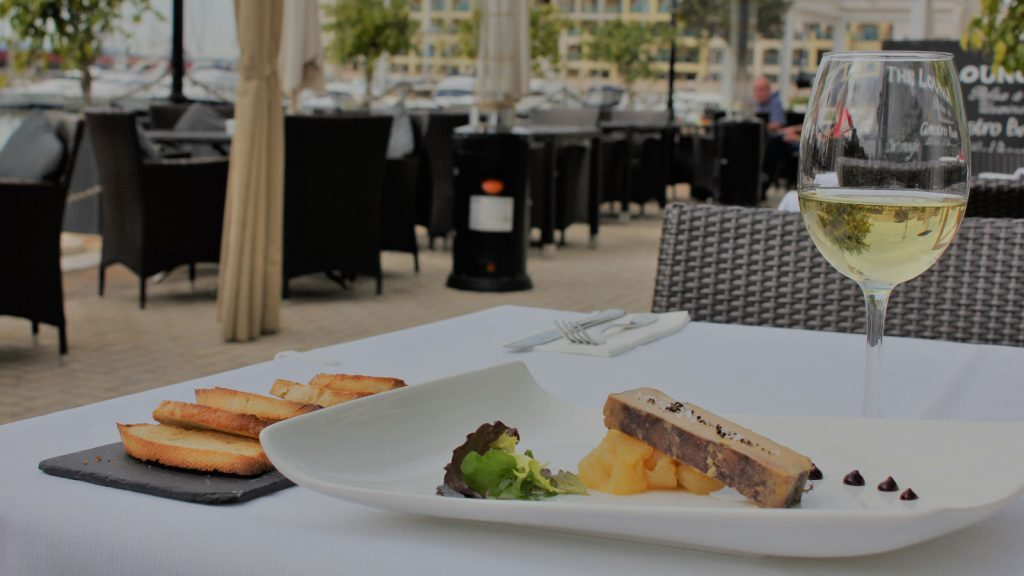 The Lounge meal and white wine Queensway Quay Marina image
