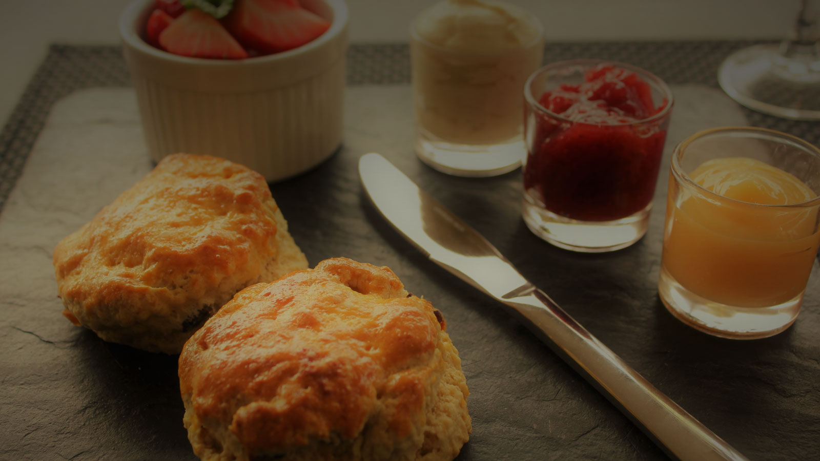 Scone with selection of fillings